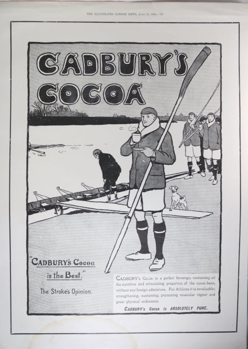 1900 full page UK  newspaper advertising for Cadbury Cocoa