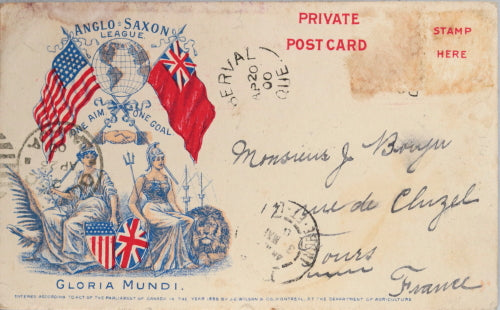 1900 patriotic Canadian postcard, great Anglo-Saxon League image