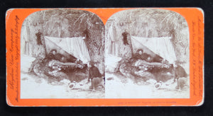 1898 stereoscopic view of Klondike Gold Rush – Halt by the wayside