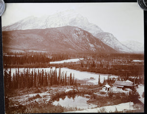 1900s Cascade and Stony Squaw Mtns. Banff Alberta photo J.H. Clarke