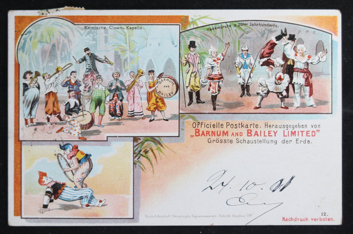 1901 Barnum and Bailey clowns postcard (German)