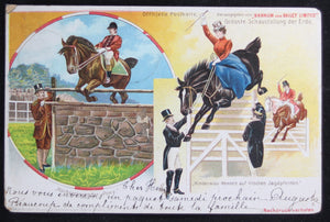 1901 Barnum and Bailey horse jumping postcard (German)