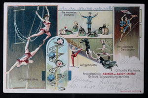 1901 Barnum and Bailey trapeze postcard (German) #2