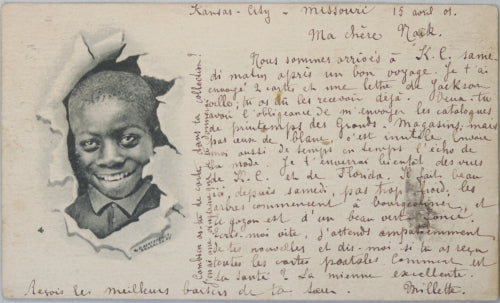 1901 Black Americana postcard of smiling young boy