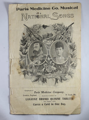1901 'National Songs' sheet music booklet - Edward VII and Queen Alexandra (Paris Medicine Co.)