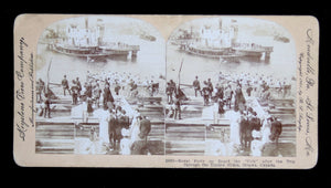 1901 Ottawa stereoscopic view 'Royal Party board 'Crib' after trip through timber slides'