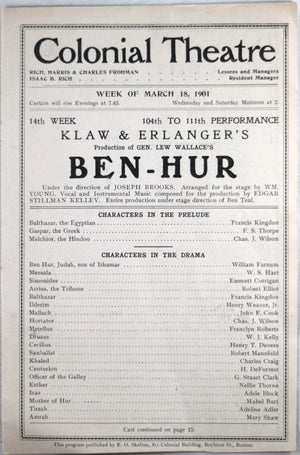 1901 program Ben-Hur (by Klaw & Erlanger) at Colonial Theatre, Boston