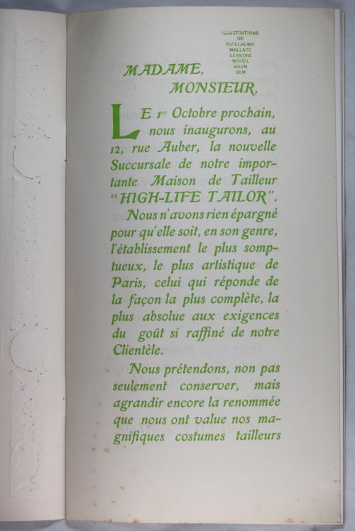 1902-03 Paris catalogue maison de mode 'High Life Tailor'