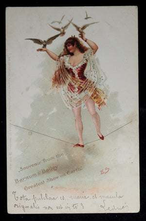 1902 Barnum and Bailey tightrope walker postcard
