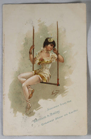 1902 Barnum and Bailey trapeze artist postcard