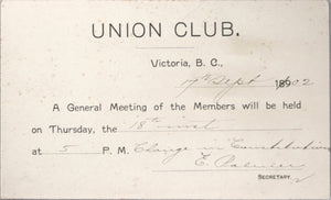 1902 invitation from Union Club Victoria B.C. to members meeting