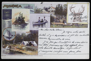 1902 postcard with images of Muskoka Lakes Ontario Canada