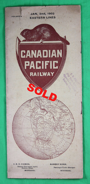 1903 Canadian Pacific Railway Eastern Lines timetable