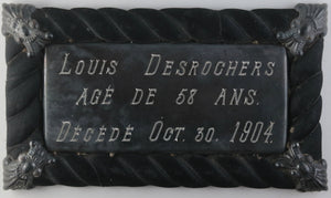 1904 Canada coffin plaque, cross and photo (Louis Descrochers)