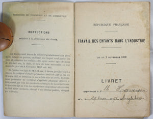1904 13 y.o. English girl's apprenticeship booklet - Paris