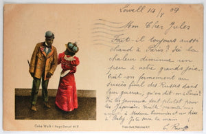1904 Black Americana postcard depicting 'Cake Walk' dance, vaudeville