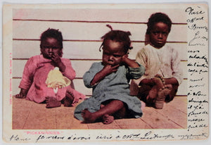 1904 USA postcard depicting three children (Black Americana)