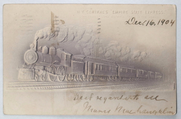"""1904 railroad postcard New York Central's """"Empire State Express"""""""