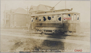 1906 RPPC photo postcard of vandalized streetcar, Hamilton ON strike