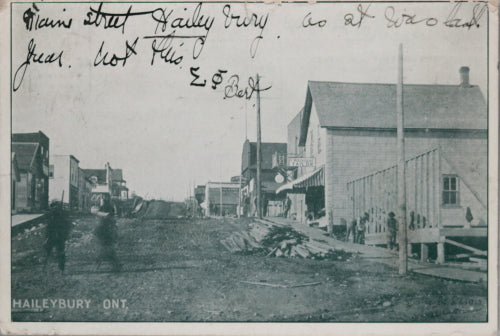1906 early photo postcard of Main St. Haileybury Ontario