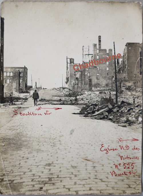 1906 photo of ruins Bush St. San Francisco, after earthquake and fire