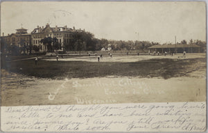 1906 postcard baseball game Sacred Heart College, Prairie du Chien WI