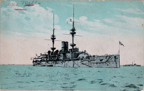 1906 postcard of battleship H.M.S Jupiter at anchor