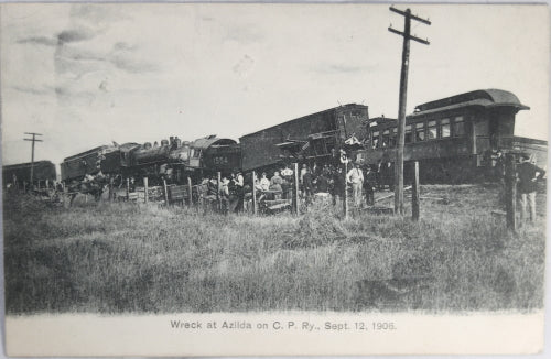 1906 postcard with of photo of fatal CPR train wreck near Azilda Ontario