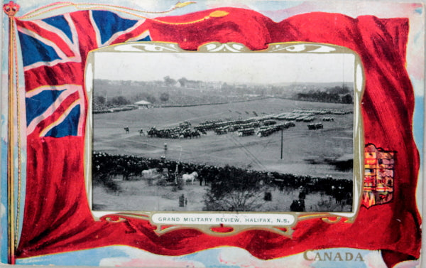 1907 Canada patriotic postcard, Military Review Halifax N.S.