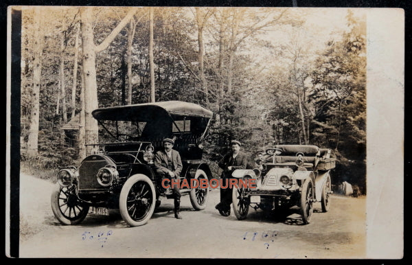 1907 photo postcard two early classic automobiles Manchester MA