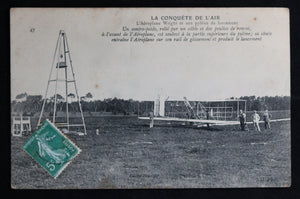 @1908 CP France photo l'Aéroplane Wright et son pylône de lancement
