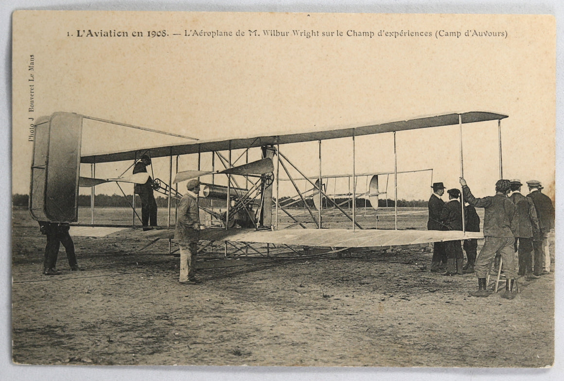 1908 CP Wilbur Wright Champ d'Auvours  Postcard flight France