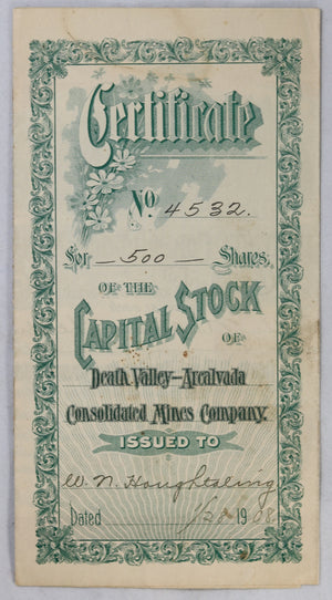 1908 Death Valley- Arcalvada Mines stock certificate
