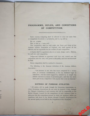 1908 London Olympic Games - Athletics Programme