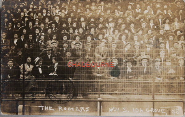 1908 photo postcard, fans at high school football game, Ida Grove Iowa
