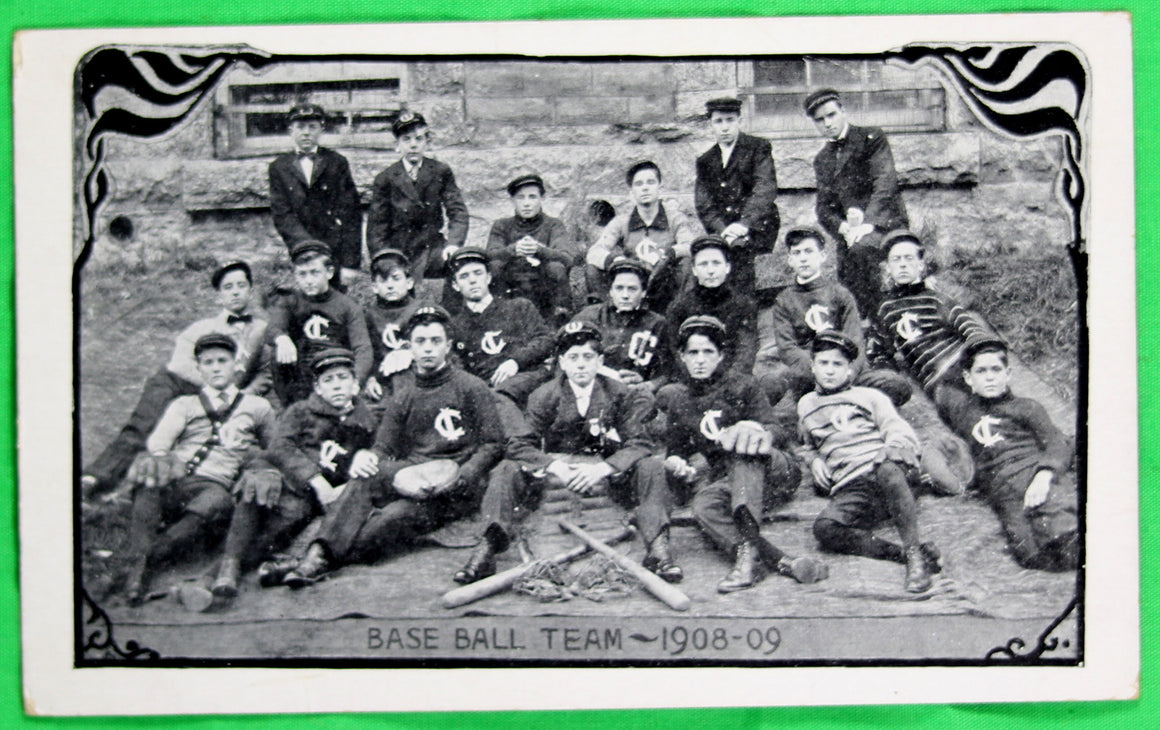 1908 photo postcard of school baseball team, Iberville Québec