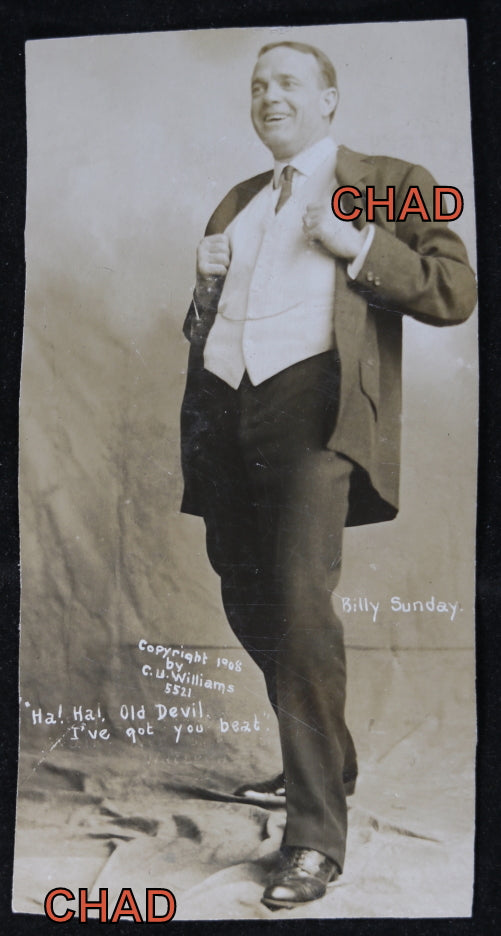 1908 photo postcard of traveling evangelist Billy Sunday