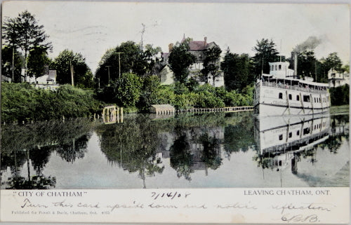 1908 postcard 'City of Chatham' steamship leaving Chatham Ontario