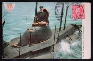1908 postcard photo of U.S. submarine 'Plunger'