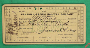 1909 Canadian Pacific Railway employee pass