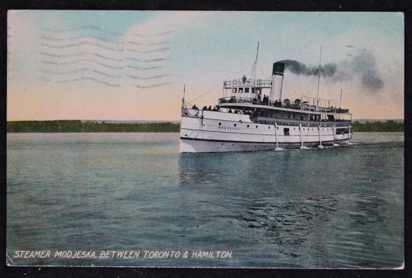1909 Canadian postcard of steamer Modjeska on Lake Ontario