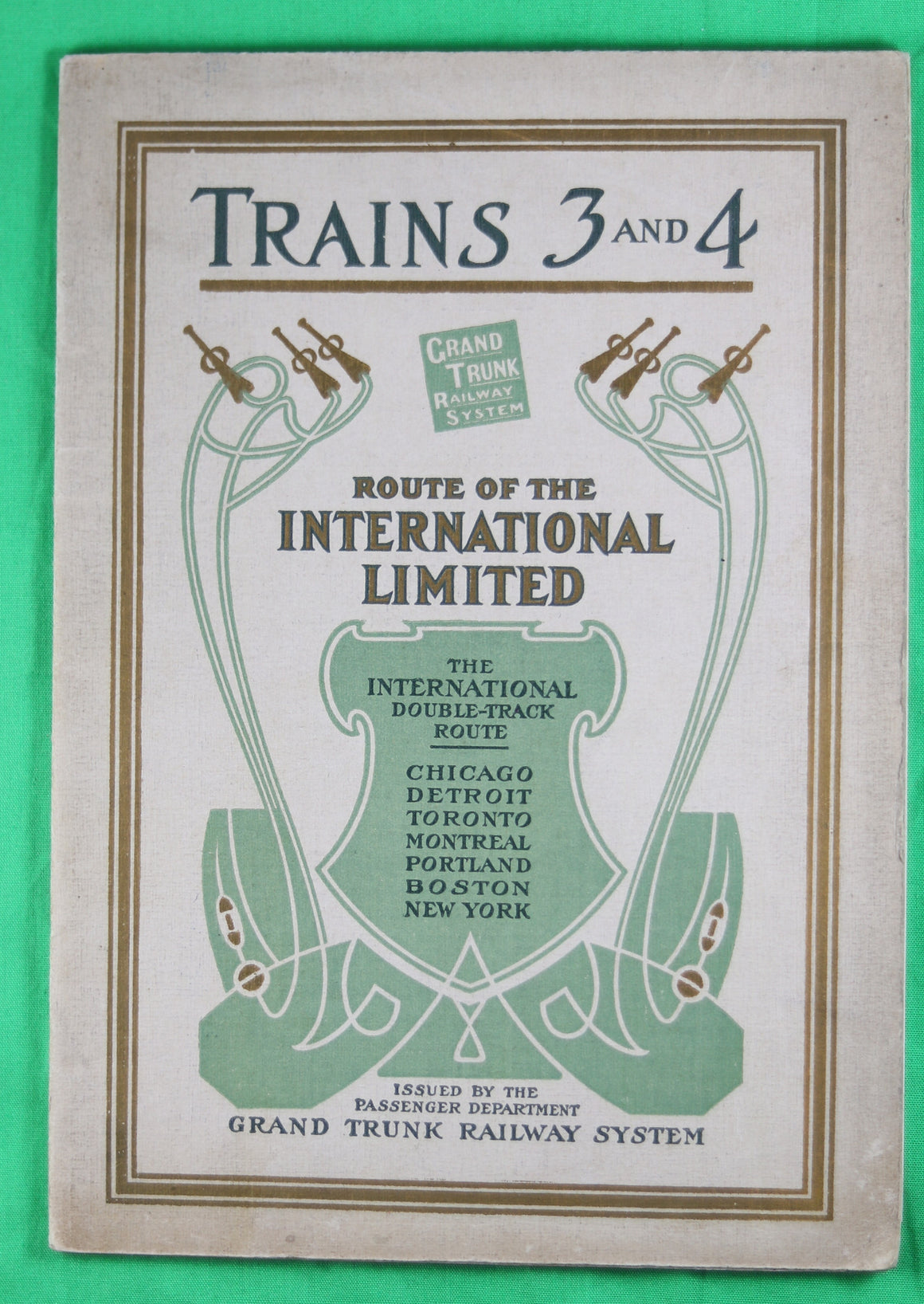 "1909 Pamphlet Grand Trunk Railway Trains 3 and 4 ""International"""