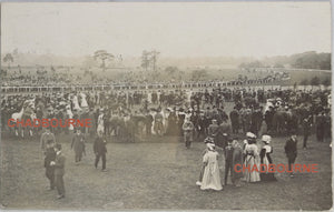1909 photo postcard Newcastle Race Course (UK), horse Easter Meeting