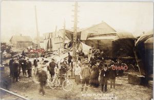 1909 photo postcard of Willoughby Ohio train wreck cause by sabotage