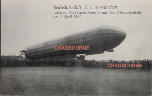 1909 photo postcard of Z.1 Zeppelin moored at field in Munich