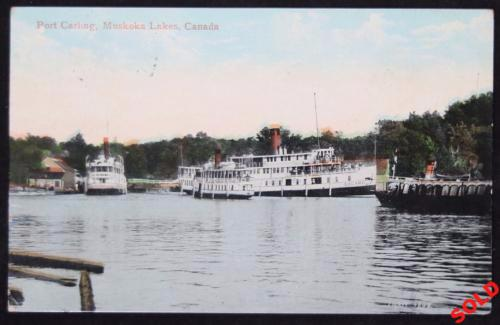 1909 postcard steamboats at docks Port Carling Muskoka Canada