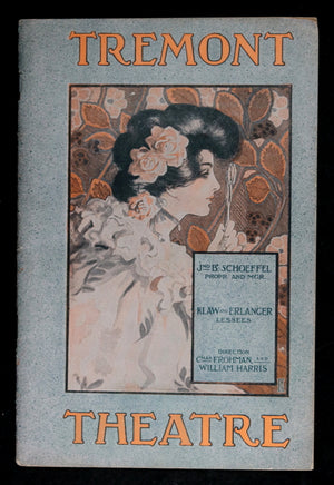 1909 programme, 'The Merry Widow' at the Tremont Theatre Boston MA