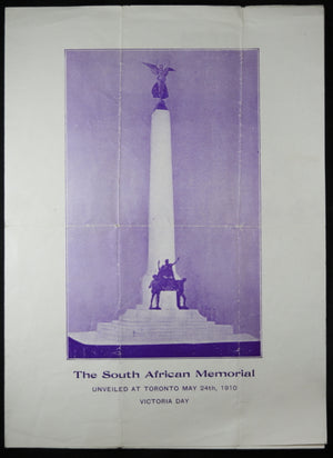 1910 Programme unveiling South African Memorial Toronto