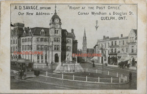 1910 advertising postcard for Optician, downtown Guelph Ontario