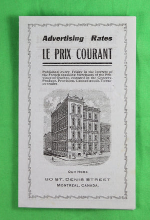 1910 advertising rates for 'Le Prix Courant' newspaper Montreal Qc
